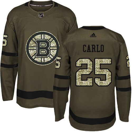 Youth Boston Bruins #25 Brandon Carlo Adidas Green Premier Salute To Service NHL Jersey
